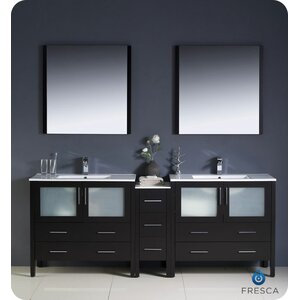 Torino 84 Double Modern Bathroom Vanity Set with Mirror