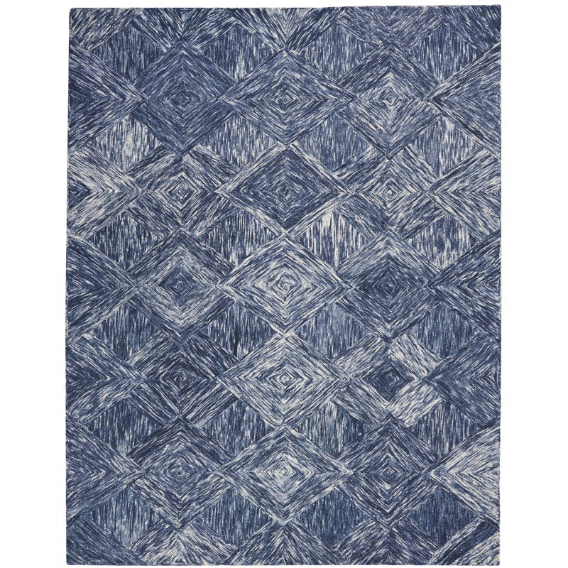 Ivy Bronx Divernon Hand Woven Wool Denim Area Rug