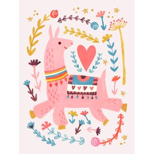 Pink Llama by Irene Chan Paper Print