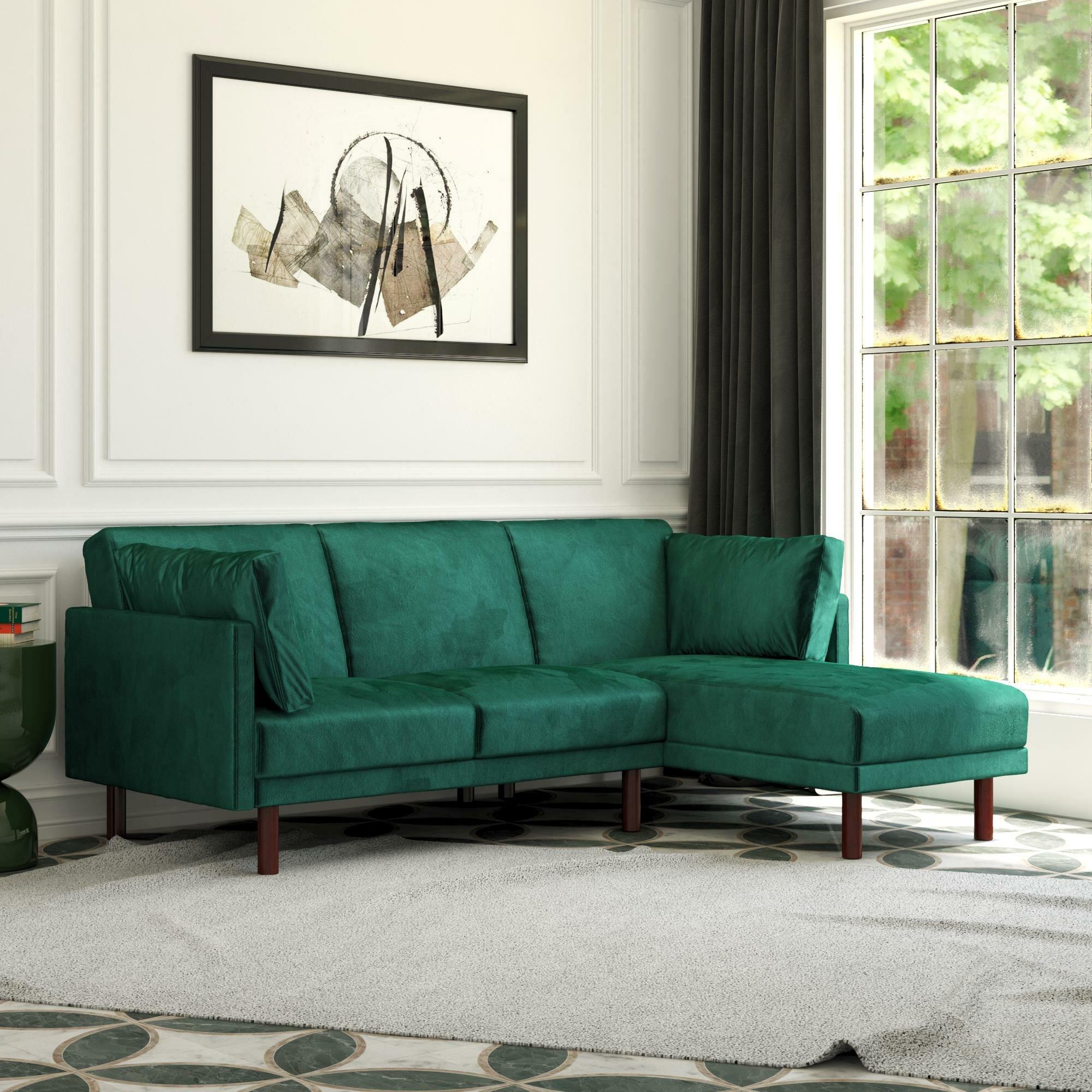 Mercer41 Paulsen 80 5 Wide Velvet Reversible Sleeper Sofa Chaise Reviews Wayfair