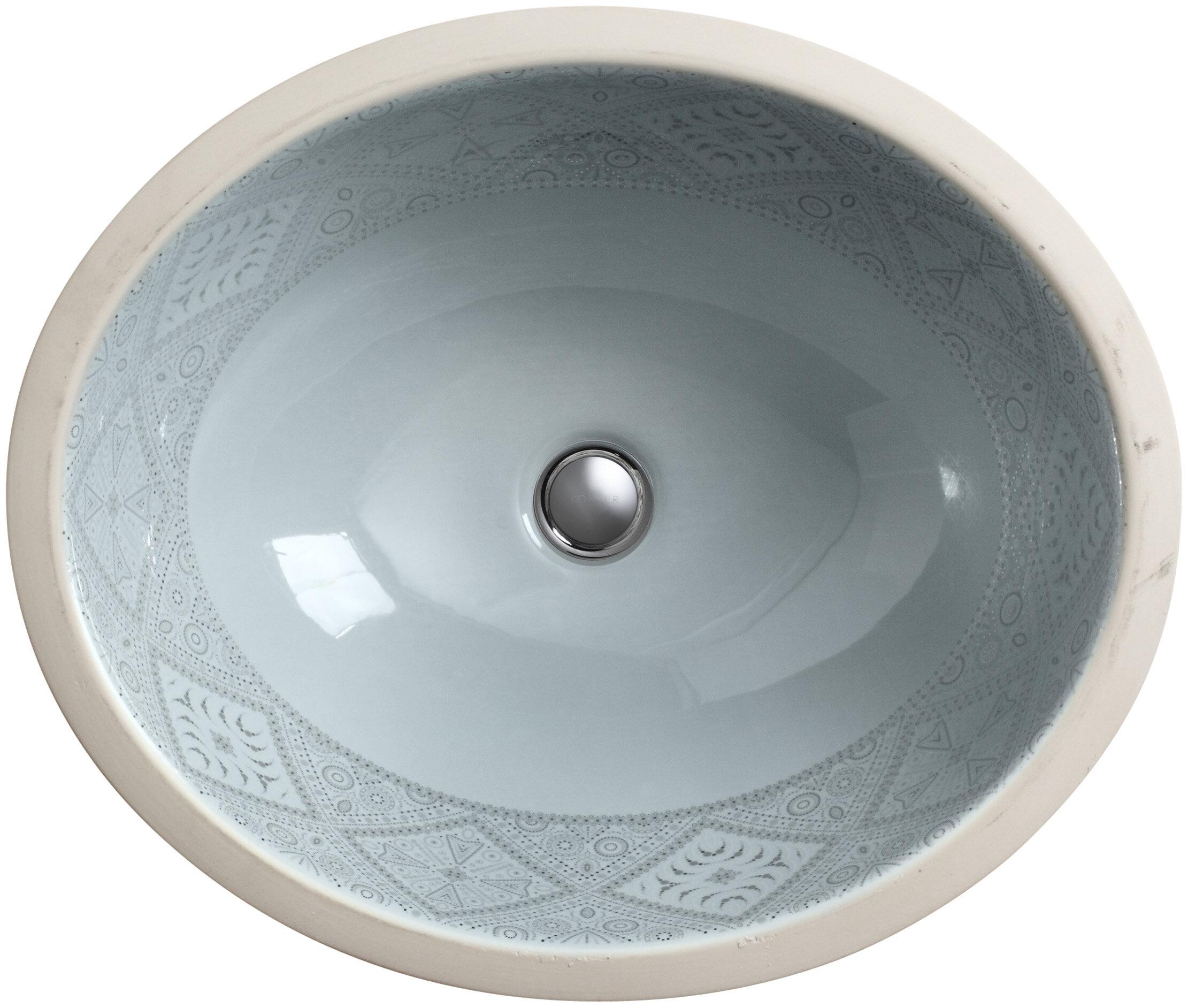 K-14218-SR1-K7 Kohler Caravan Ceramic Oval Undermount Bathroom Sink ...