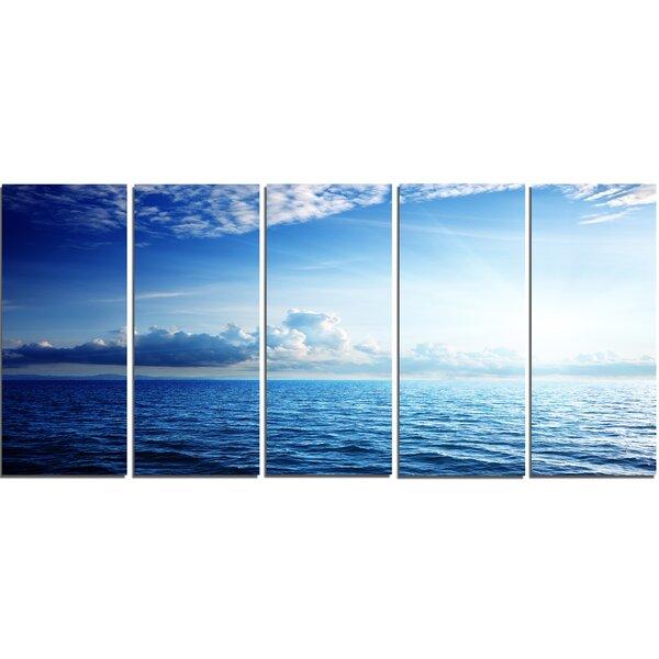 Designart Blue Caribbean Sea And Perfect Blue Sky 5 Piece Wall Art On Wrapped Canvas Set Wayfair