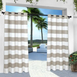 Plant City Striped Semi-Sheer Grommet Curtain Panels (Set of 2)
