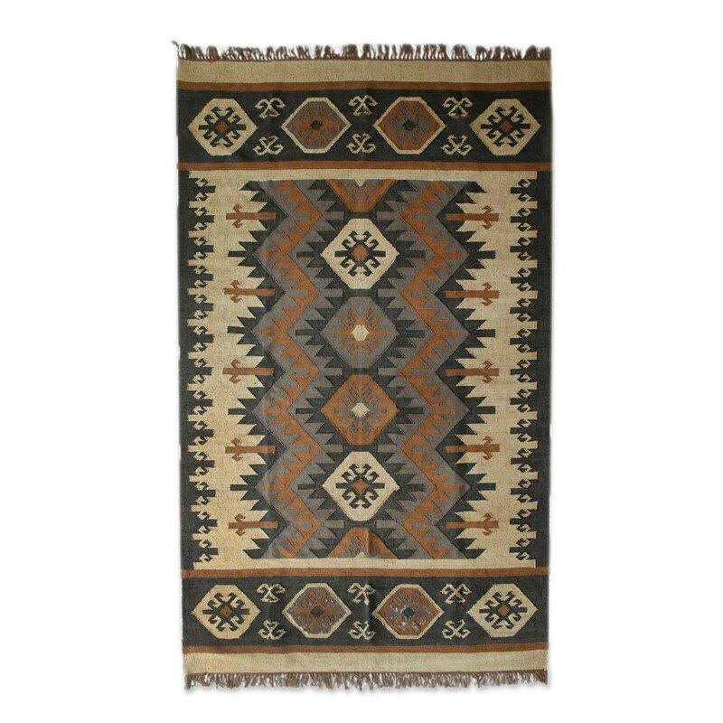 Millwood Pines Mckellar Creative Fusion Dhurrie Hand Knotted Wool Brown Area Rug Wayfair