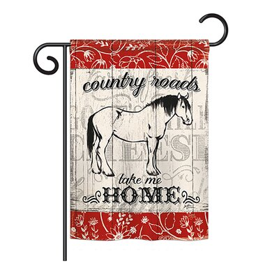 Country Roads Horse Nature 2-Sided Polyester 1'1 x 1'5 ft. Garden Flag Breeze Decor