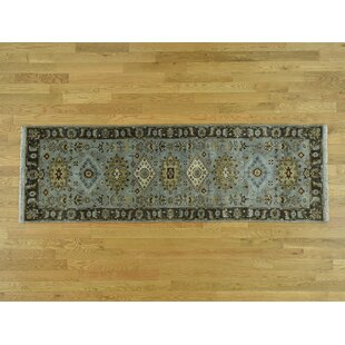 One-of-a-Kind Flynn Design Oriental Hand-Knotted 2'6 x 8' Wool Gray/Black Area Rug Isabelline