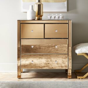 Felica Mirrored 4 Drawer Dresser by Willa Arlo Interiors