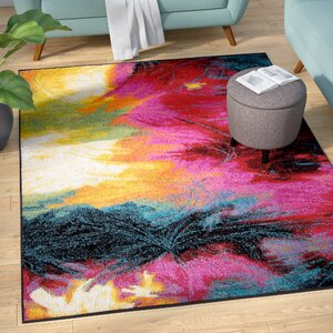Brannigan Black/Pink Area Rug