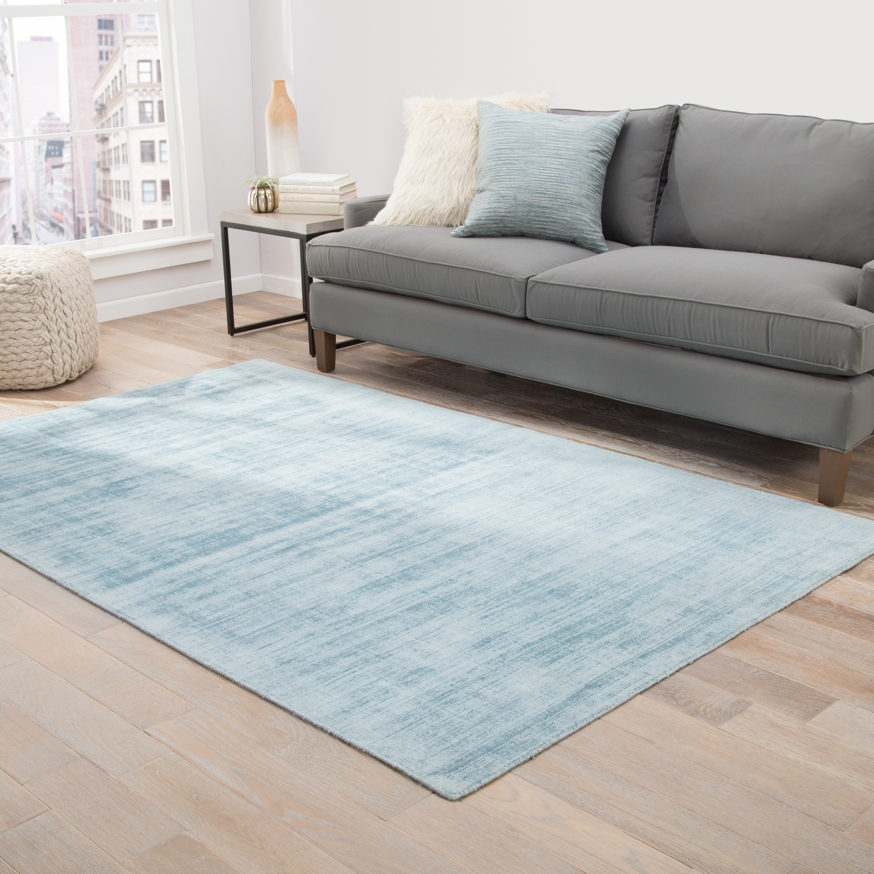 Latitude Run Sara Hand Loomed Blue Area Rug Wayfair