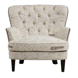 Lark Manor Stamm Script Upholstered Armchair
