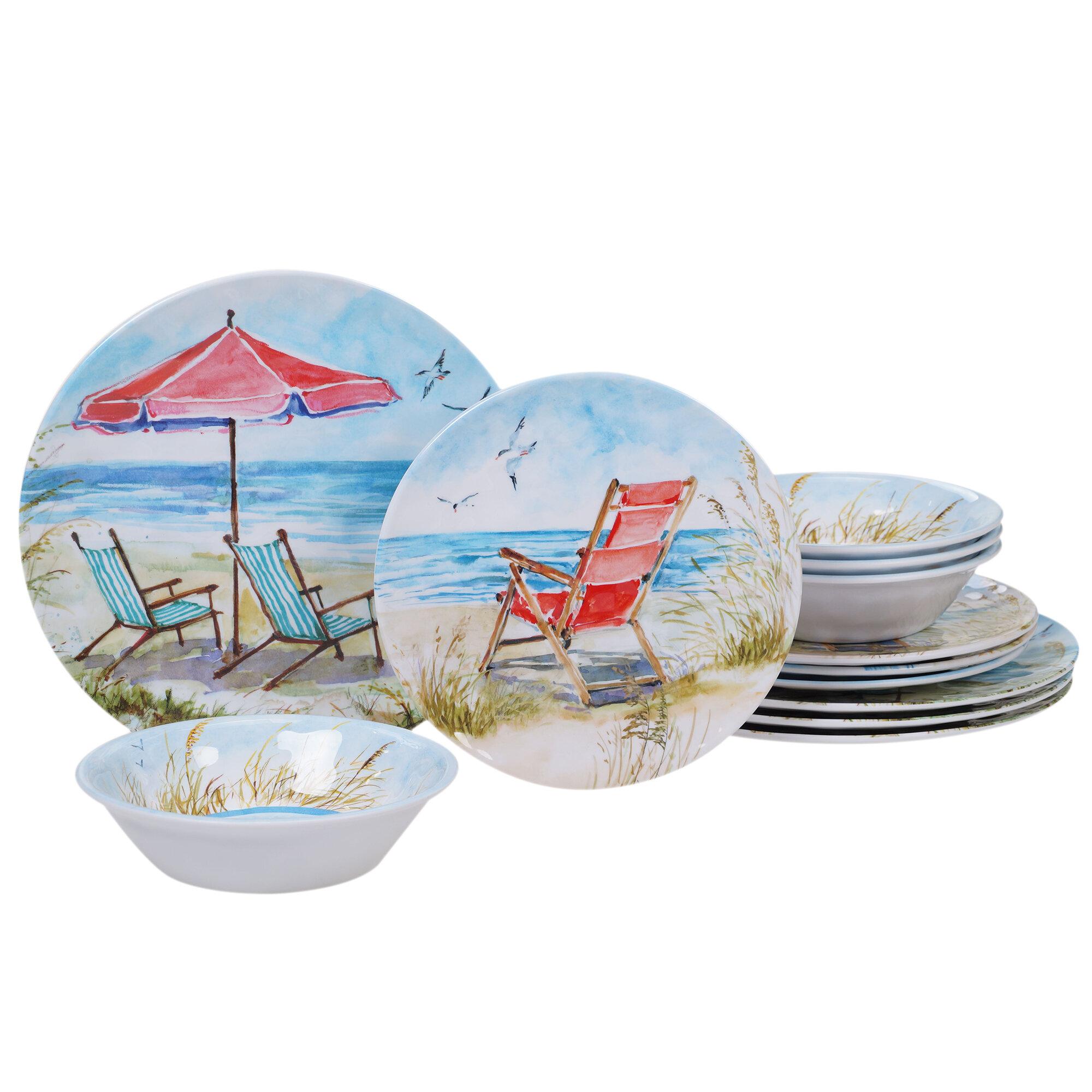 Highland Dunes Cavallaro 12 Piece Melamine Dinnerware Set Service For 4 Wayfair