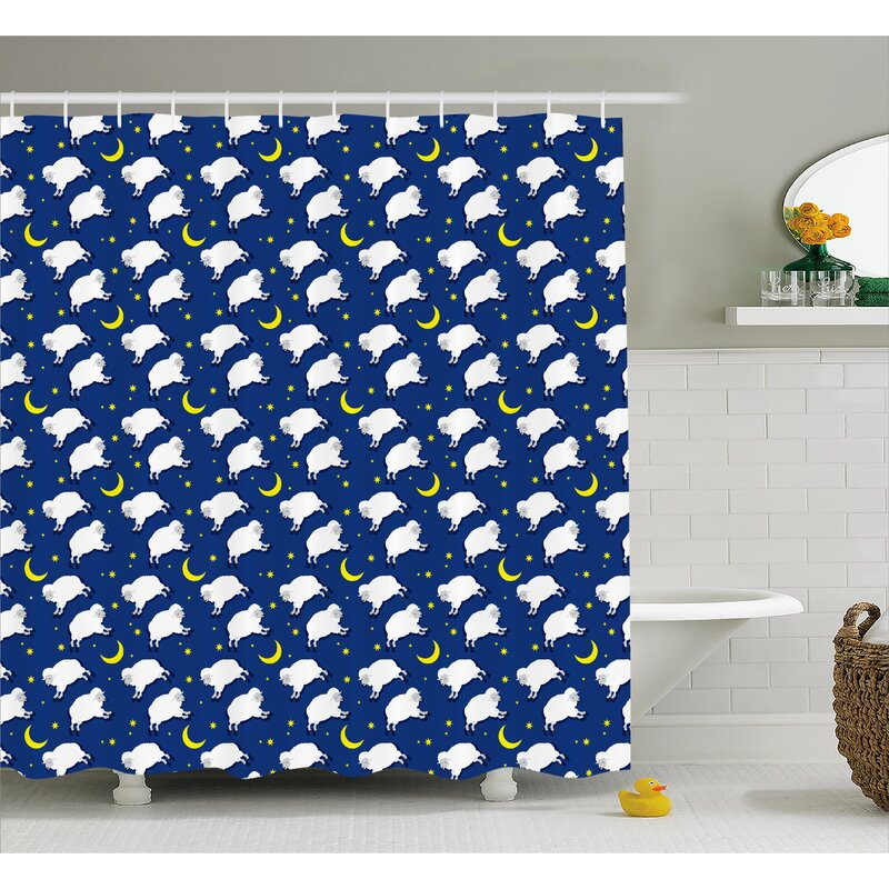 Luella Crescent Moon And Stars Shower Curtain