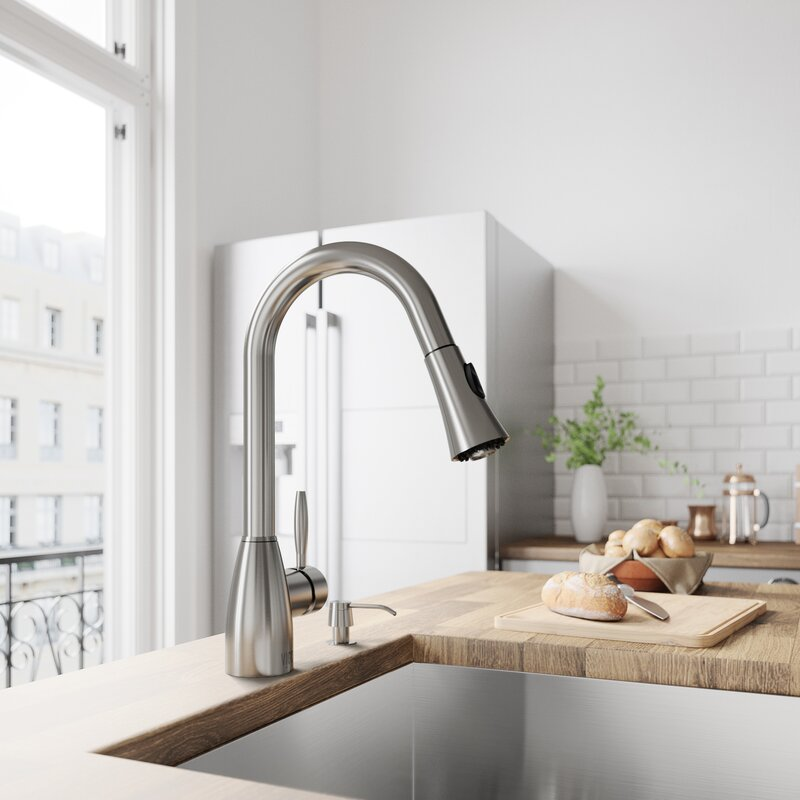 Vigo Aylesbury Pull Down Single Handle Kitchen Faucet With Optional