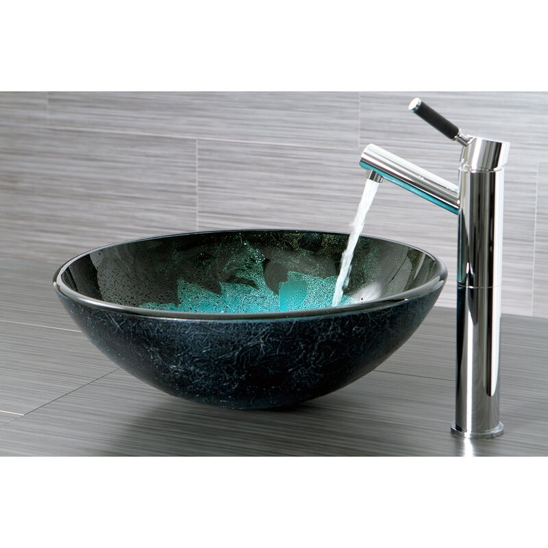 Elegant Fauceture Turquoise Space Circular Vessel Bathroom Sink