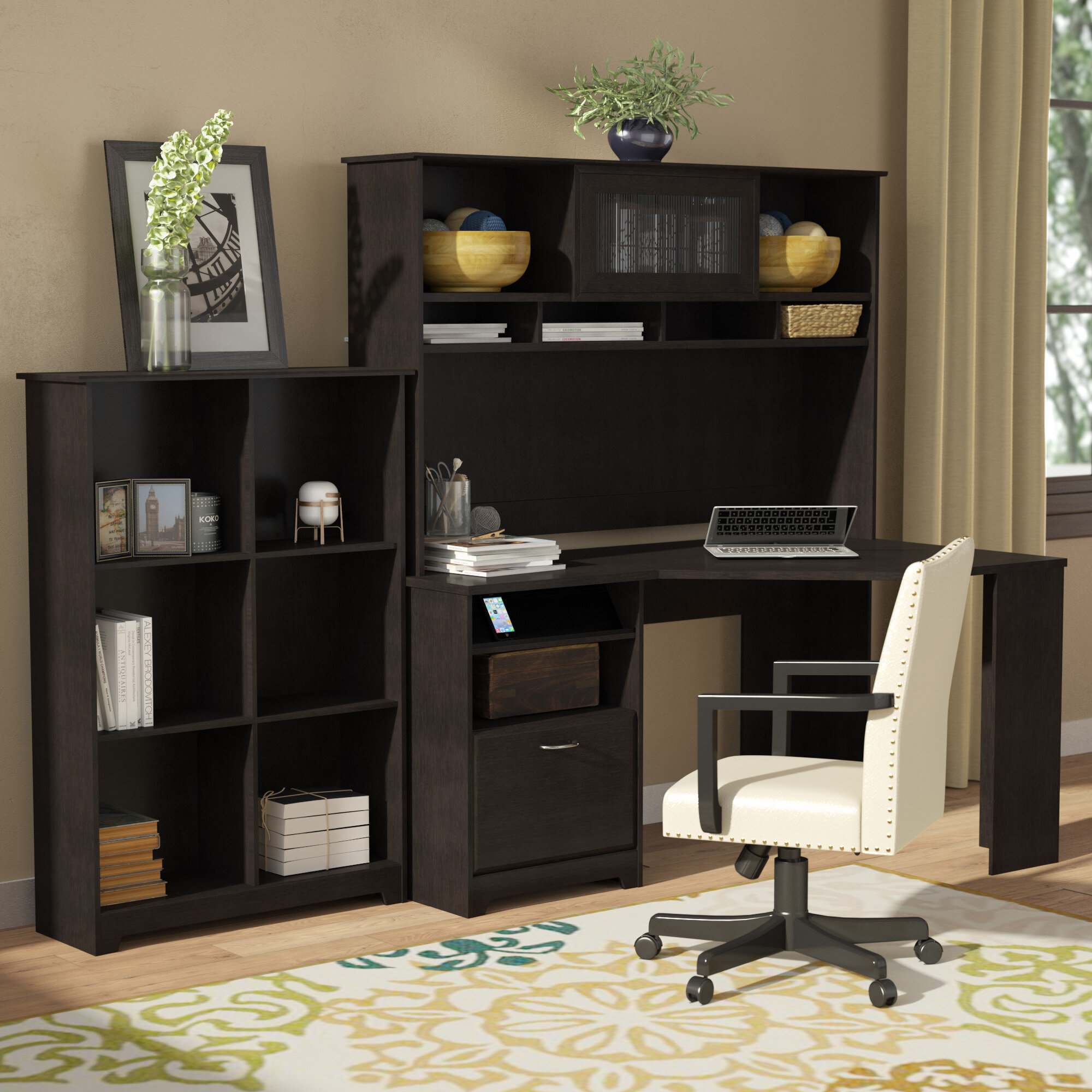 Red Barrel Studio Hilale Corner Desk With Hutch And Bookcase Reviews Wayfair