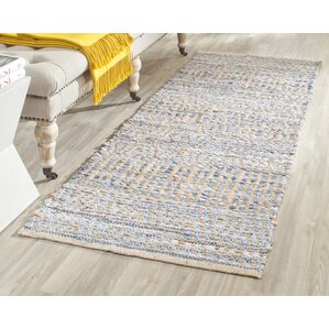 Auden Hand Woven Natural Blue Area Rug