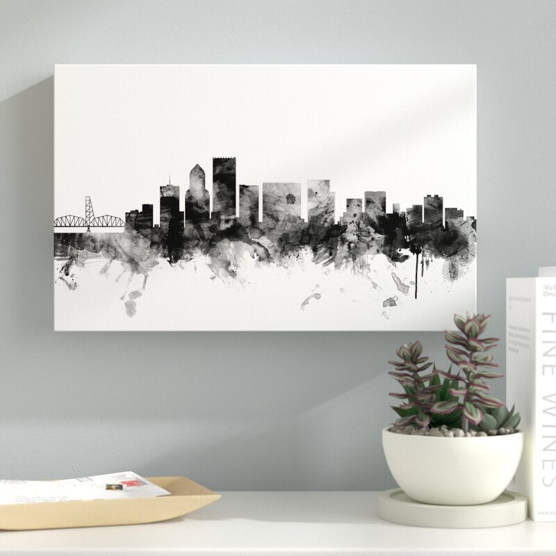 latitude run portland oregon skyline b w graphic art on wrapped canvas wayfair portland oregon skyline b w graphic art on wrapped canvas