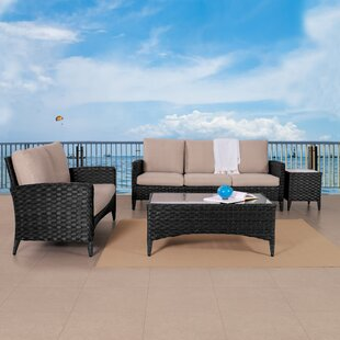Kandice Wide 4 Piece Rattan Sofa Seating Group with Cushions