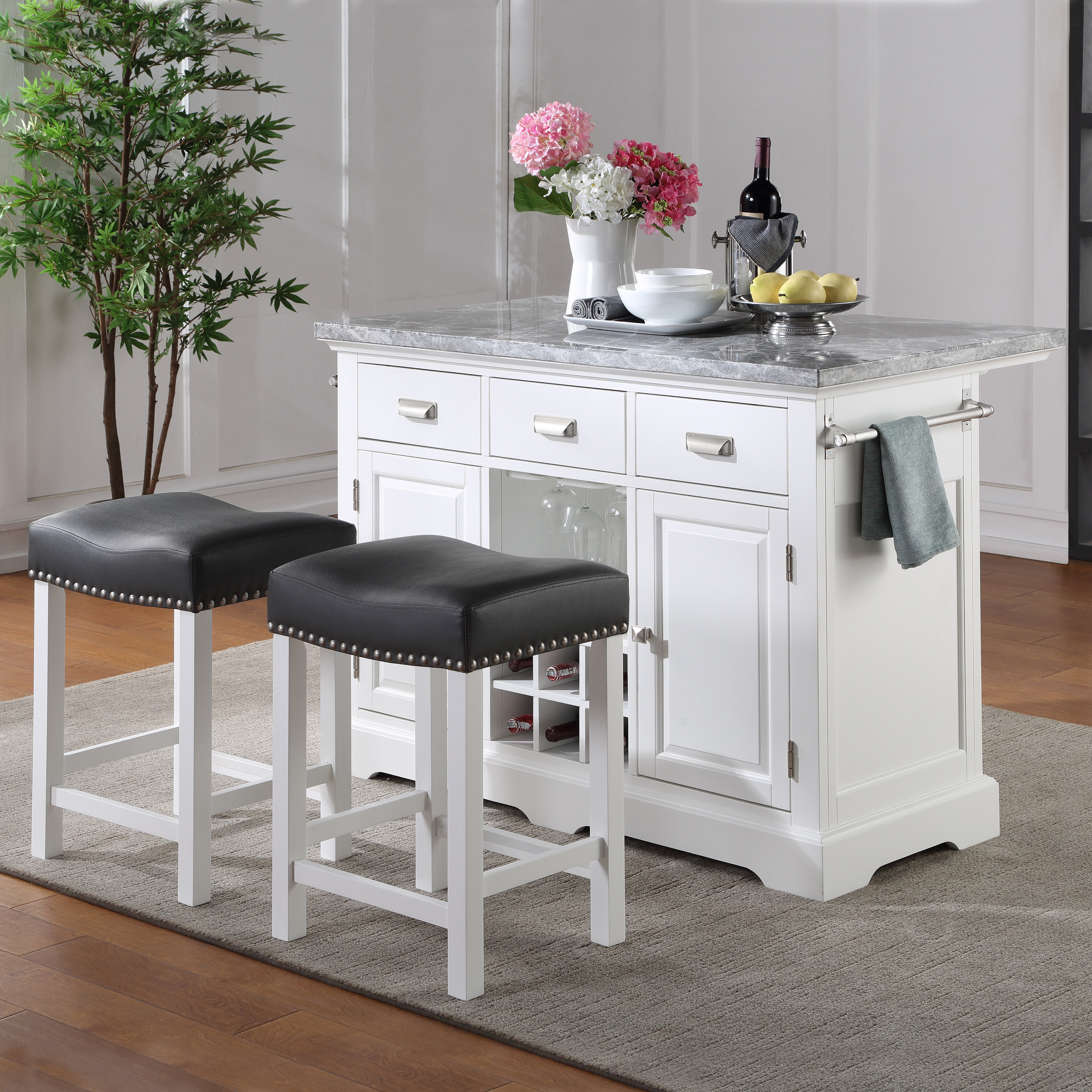 Lark Manor Abigale 48 Kitchen Island Set With Marble Top Reviews Wayfair