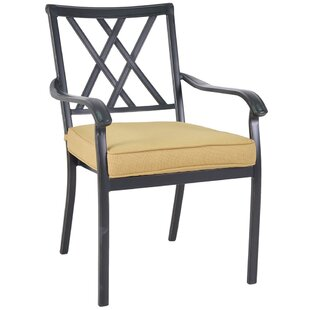 Gigi Cast Back Bistro Stacking Patio Dining Chair with Cushion (Set of 2)