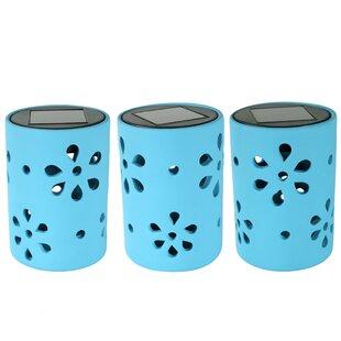 Red Barrel Studio Jiang Ceramic Jar Style 1 Light LED Step Light with Flower Cutouts (Set of 3)