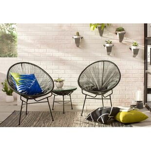 Ehrlich 3 Piece Rattan 2 Person Seating Group with Cushions