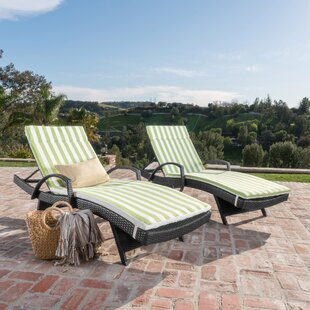 Abra Outdoor Wicker Arm Chaise Lounge (Set of 2)