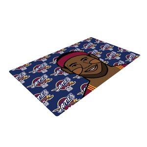 Will Wild Lebron James Basketball Blue/Pink Area Rug