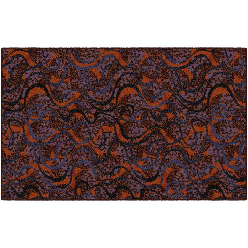 Latitude Run Decimus Orange/Purple Area Rug, Size: Rectangle 76 x 10
