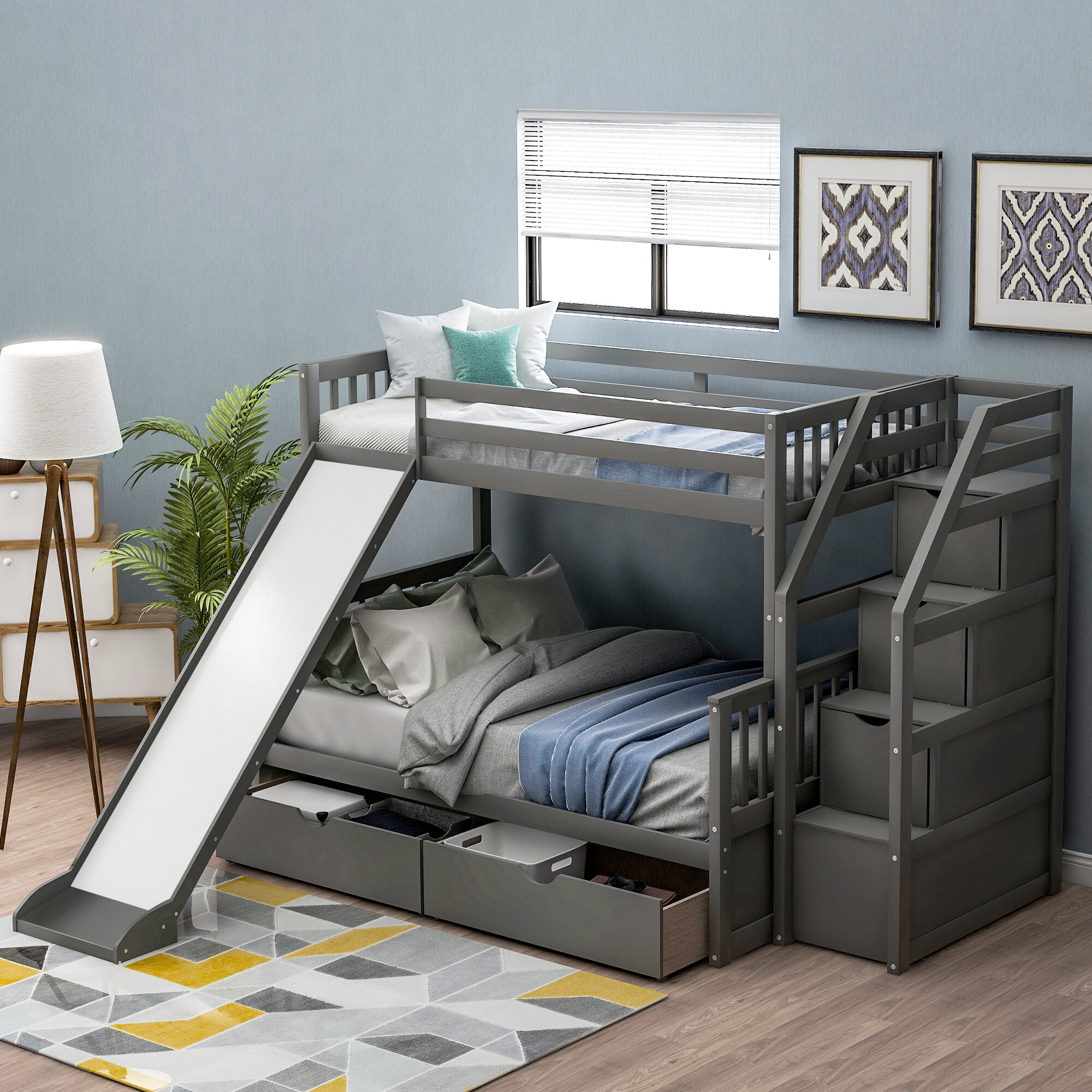 Isabelle Max Alydar Twin Over Full Bunk Bed With With 2 Drawers Reviews Wayfair