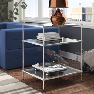 Busey 2 Shelves Glam Mirrored End Table Latitude Run