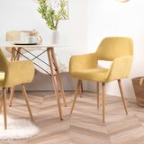 Margarida Upholstered Open Back Arm Chair in Yellow (Set of 2) by Corrigan Studio®