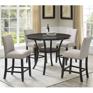 Biony Espresso Wood 5 Piece Dining Set