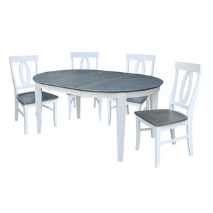 Talia 5 Piece Extendable Solid Wood Dining Set August Grove