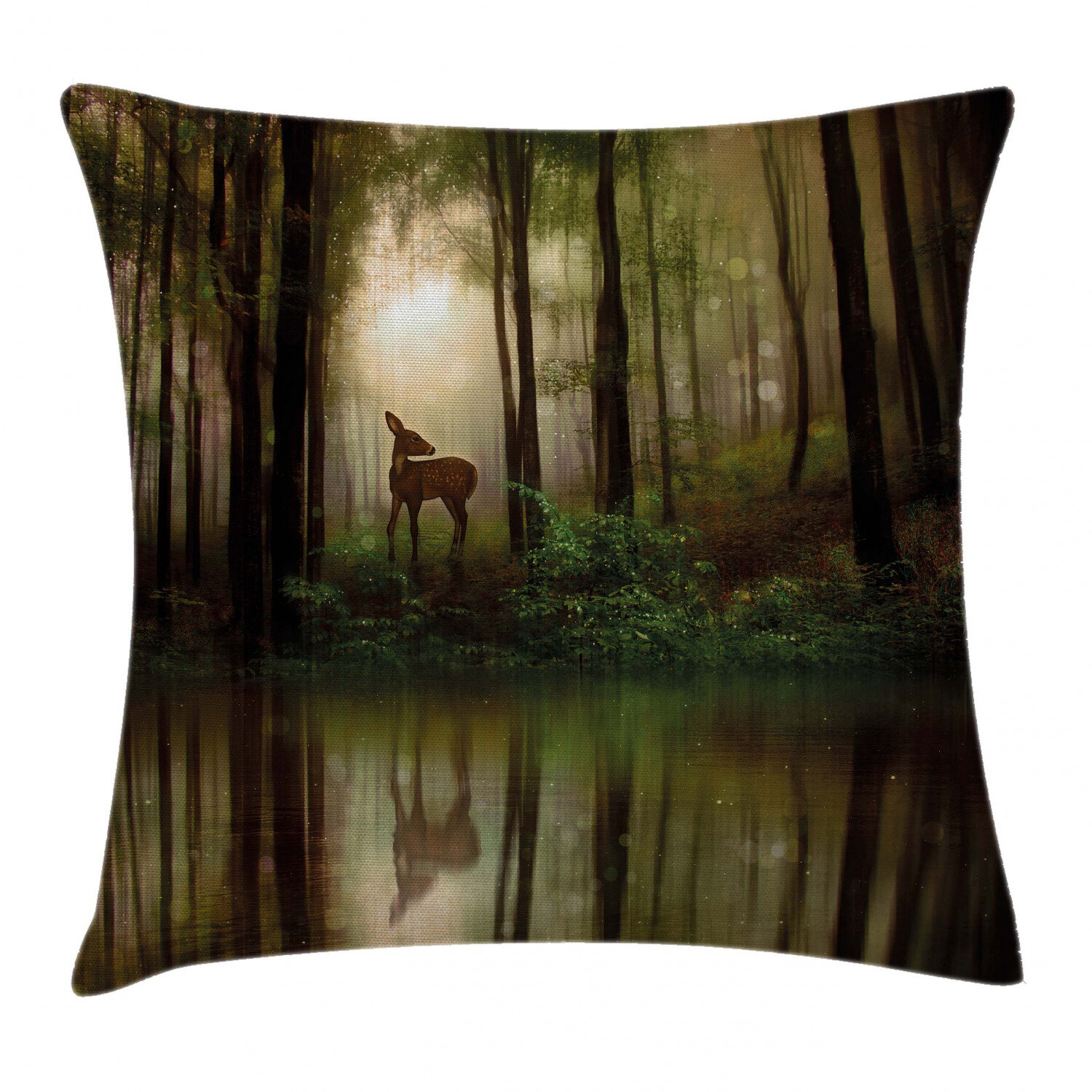 East Urban Home Baby Deer In The Forest With Reflection On Lake Indoor Outdoor 36 Throw Pillow Coverbaby Deer In The Forest With Reflection On Lake Foggy Woodland Graphic Wayfair