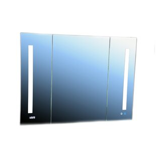 Donnelly 30 x 40 Recessed or Surface Mount Frameless Medicine Cabinet with 9 Adjustable Shelves and LED Lighting by Orren Ellis