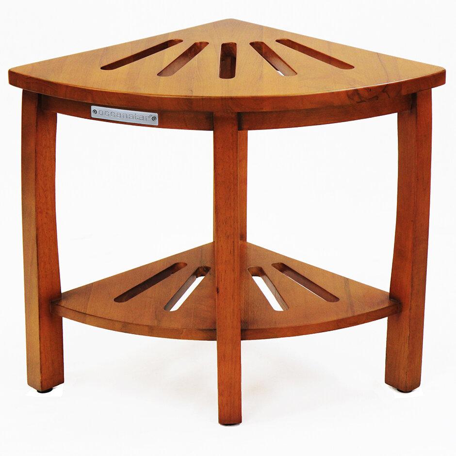 Oceanstar Design Corner Spa Shower Bench with Storage Shelf | Wayfair