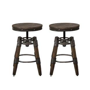 Williston Forge Caloundra Adjustable Height Swivel Bar Stool (Set of 2)
