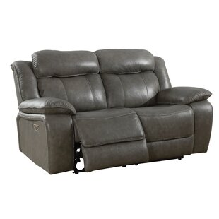 Rangel Genuine Leather Reclining Loveseat by Loon Peak