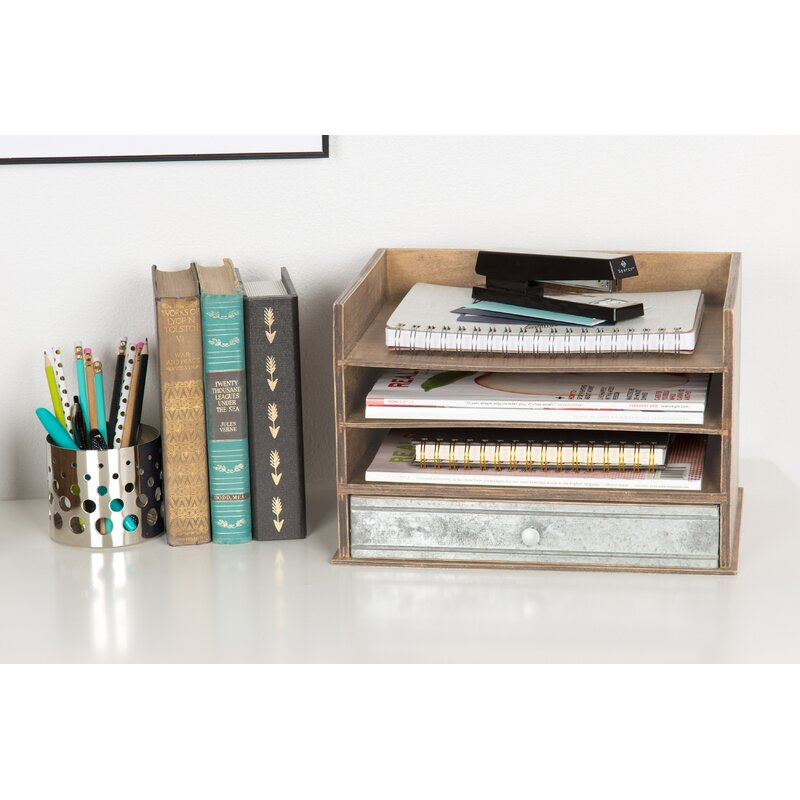 Super Industrious Desktop Wood Letter Tray With 3 Trays And Drawer Download Free Architecture Designs Oxytwazosbritishbridgeorg