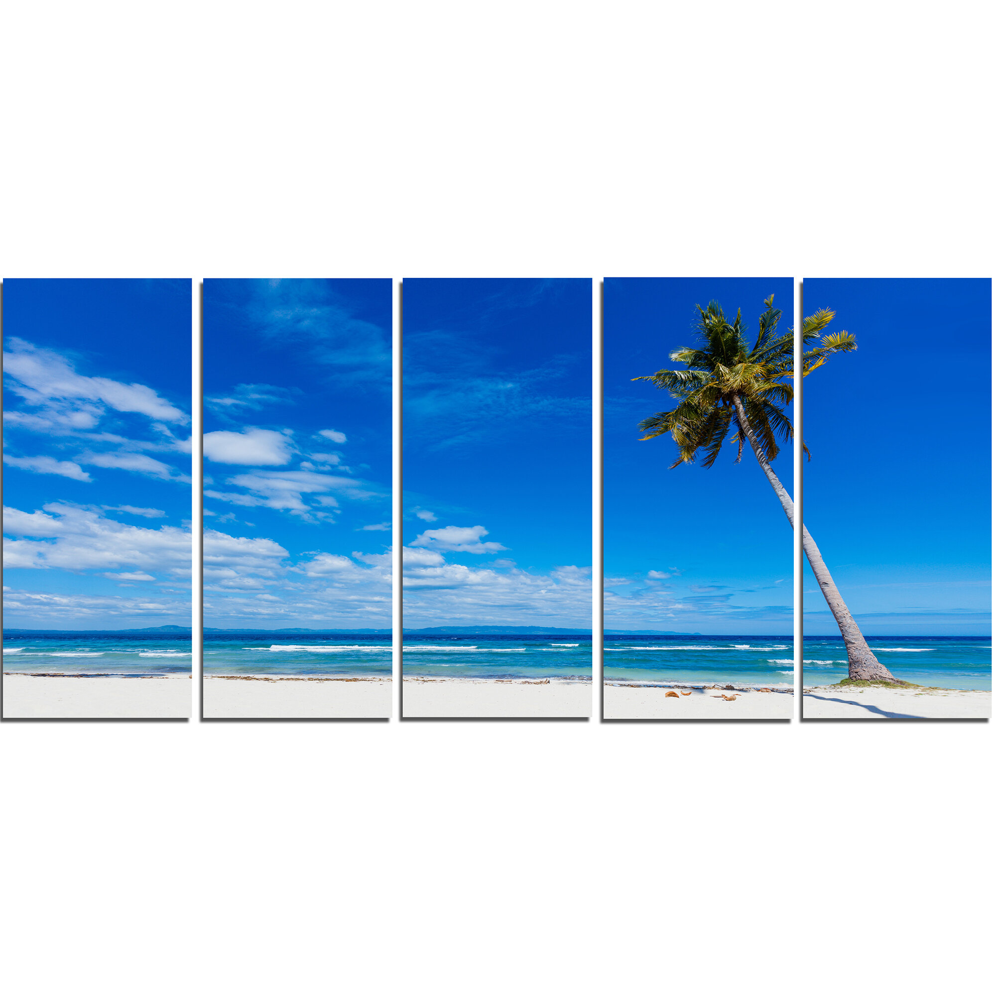 Designart Calm Summer Vacation Beach Philippines 5 Piece Photographic Print On Wrapped Canvas Set