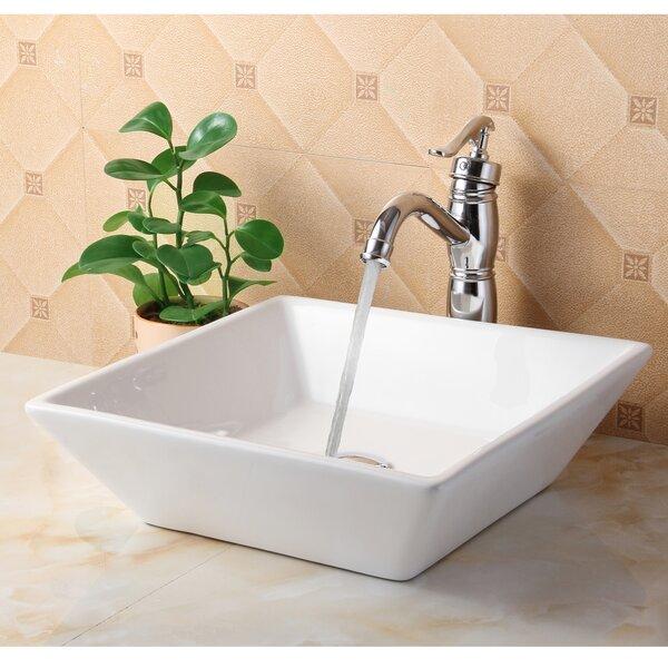Elite Ceramic Square Vessel Bathroom Sink U0026 Reviews   Wayfair