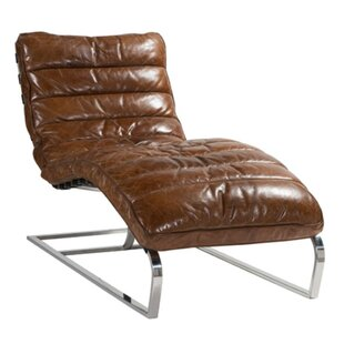 Kristopher Leather Chaise Lounge By Williston Forge