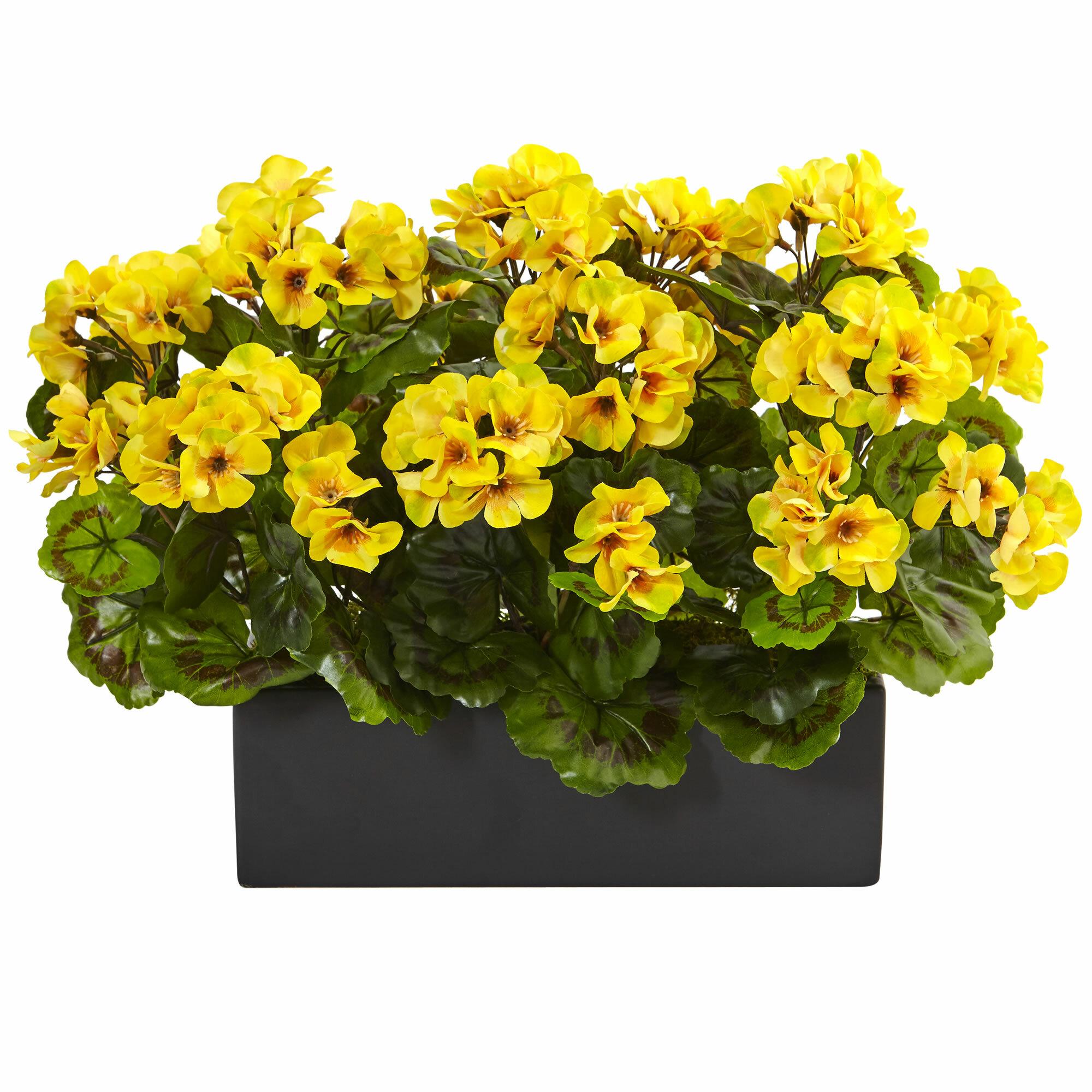 Red Barrel Studio Silk Geranium Plant Floral Arrangement in Planter ...