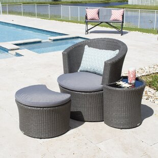 Boca Outdoor 3 Piece Lounge Chair with Cushion