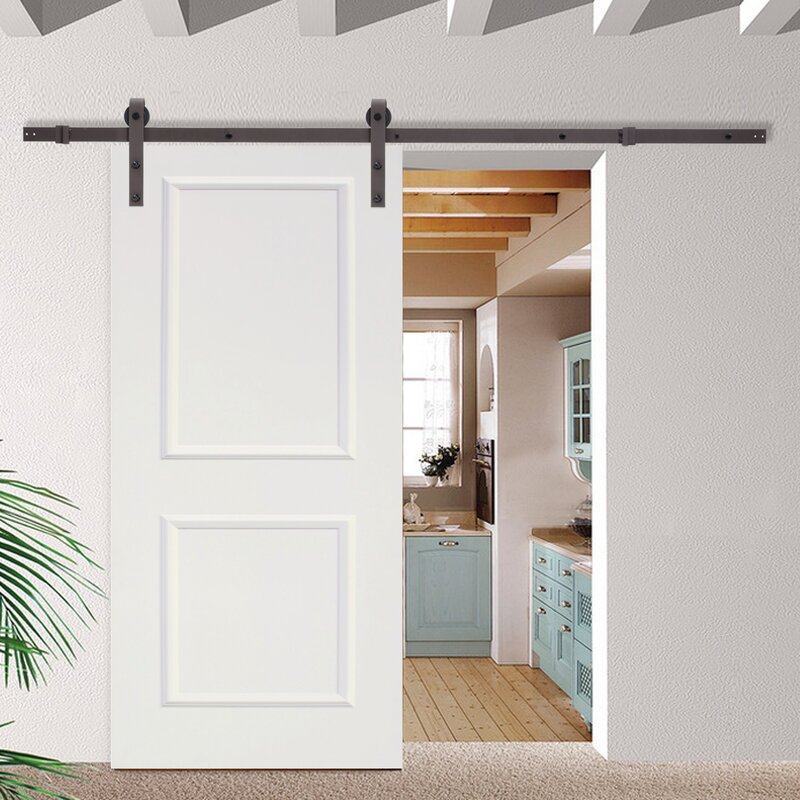 High Quality Classic Bent Strap Sliding Track Hardware MDF 2 Panel Primed Interior Barn  Door