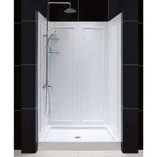 D X 48 In. W X 76 3/4 In. H Center Drain Acrylic Shower Base And QWALL 5  Backwall Kit In White