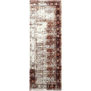 Reviews Ridgecrest Distressed Vintage Dark Red/White Area Rug By Bloomsbury Market