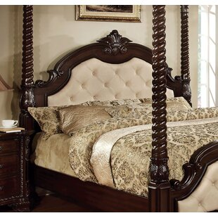 Tufted Solid Wood and Upholstered Canopy Bed by Hokku Designs