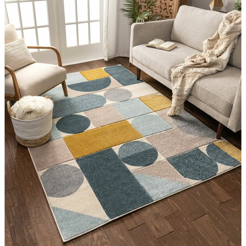 Well Woven Ruby Dede Mid Century Modern Geometric Teal Blue Gray Gold Area Rug Reviews Wayfair